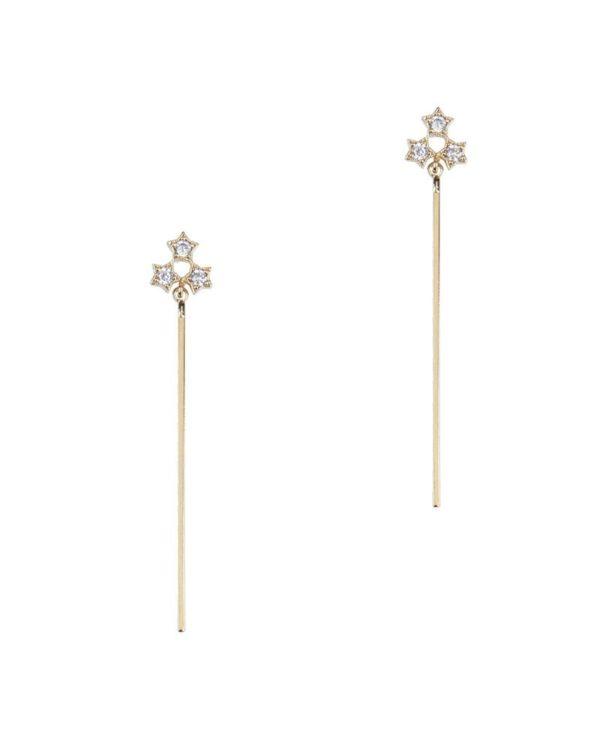 Pendientes Cometa Pendientes con forma de tres estrellas con palo alargado en la parte inferior.Esta pieza es la representación más auténtica del estilo trepillé. Líneas suaves, marcadas, con personalidad propia y siempre muy favorecedoras.