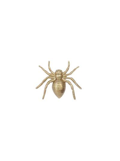 Broche Savage. Broche en forma de araña de bronce con baño de oro de 18 K. Puede usarse sobre textiles o piel. Una pieza única, sencilla y delicada