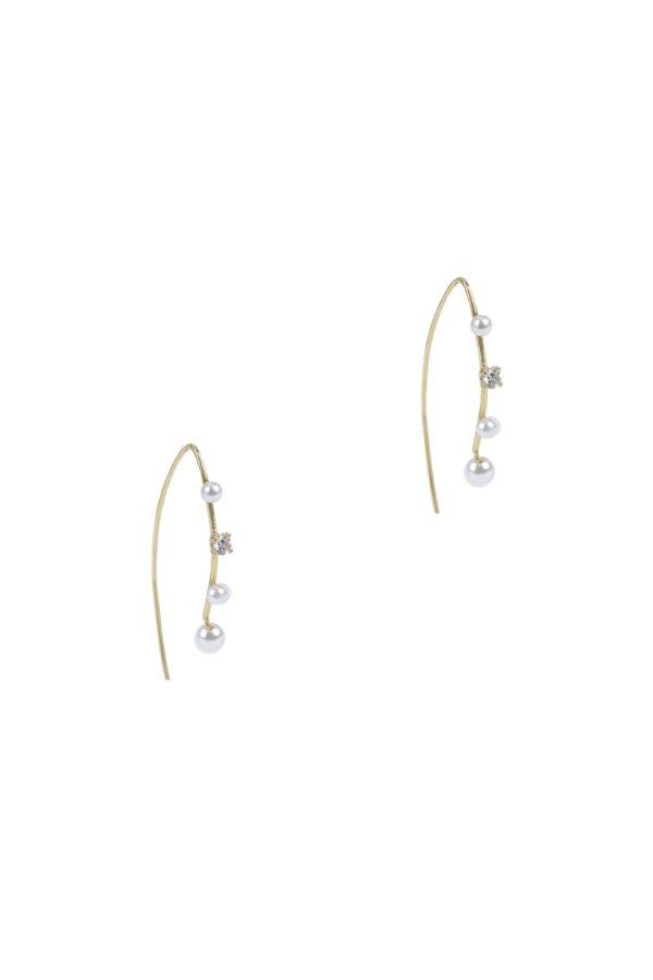 Pendientes Mabe Pendiente colgante con apliques de perlas y circonitas. Joya creada en plata de Ley de 925 con baño de oro de 18 K.