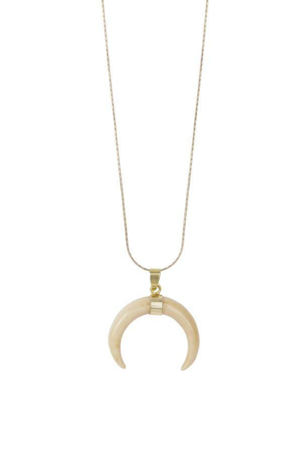 Colgante Galapago. Colgante de asta de toro con forma de cuerno invertido de plata de ley de 925 y dorado de 18 quilates.