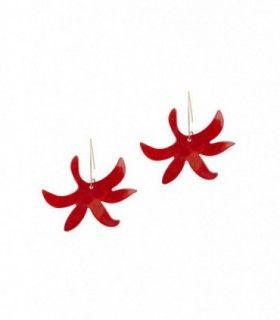 Pendientes Baia. Pendiente de colgar con parte inferior en forma de flor cortada con láser. Acabado en oro de 18 quilates.