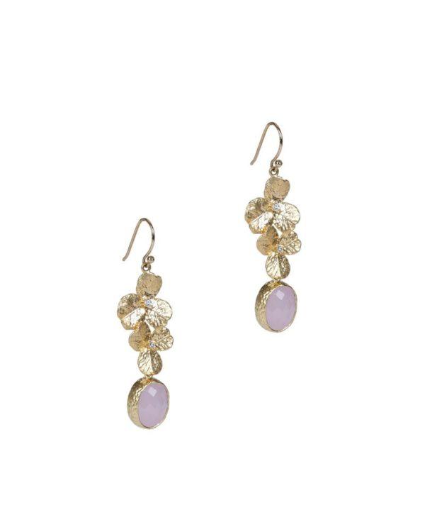 Pendientes Orquidea. Con forma de 2 flores y cristal de circonita.Piedra cuarzo facetado disponible en azul grisáceo, rosa cuarzo y negro.