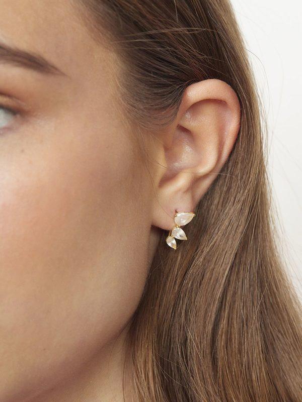 Pendientes Ear Cuff Piedra Blanca Xacarra