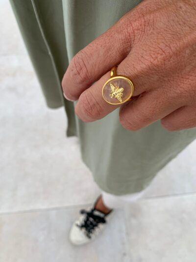 anillo abeja en piedra semipreciosa ajustable