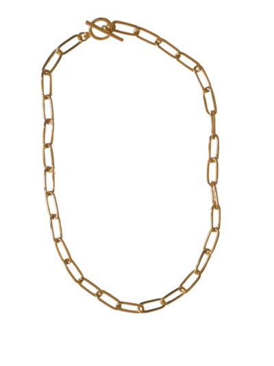 Collar eslabon corto Collar de eslabones de latón bañados en oro con cierre ovalado. Trepillé