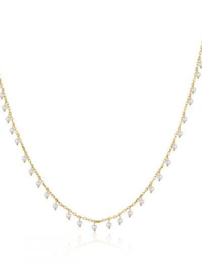 Collar perla. Colgante de plata con baño de oro con perlas blancas colgantes. Trepille.