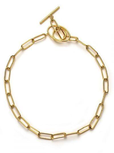 Collar eslabón acero Collar de eslabones de latón bañados en oro con cierre ovalado. Trepille.