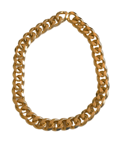 Collar eslabon ancho bañado en oro o en plata. Déjate seducir por sus líneas elegantes que mostrara el estilo Trepillé.