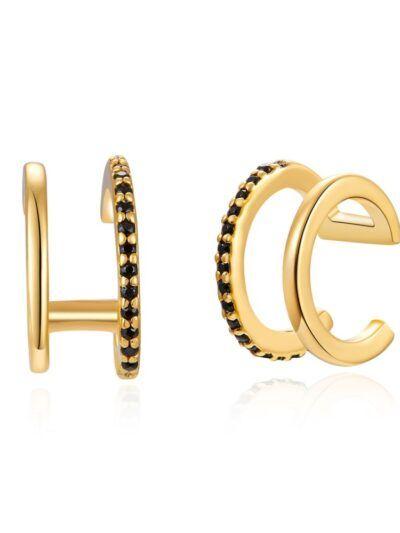 Doble Ear Cuff Negro de plata bañada en oro y con circonitas negras