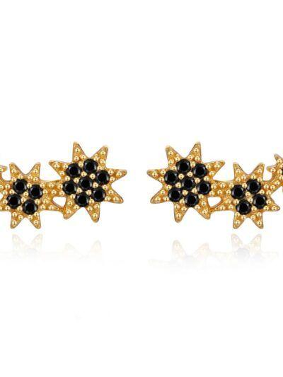 Pendientes Circonita Estrellas Negras, en forma de estrellas de circonita elaborado en plata con baño de oro.Trepille