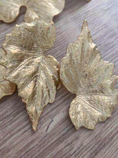 Pendientes hoja de oico dorada Trepille