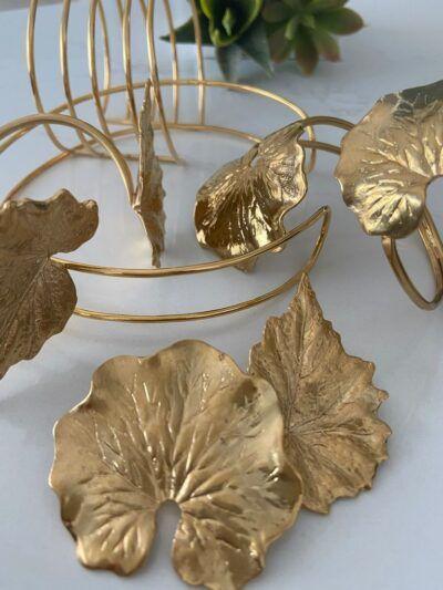 Pendientes hojas redondas doradas. Trepille