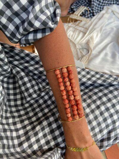 Brazalete perlas triple linea